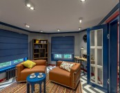 Bright Nautical-Style Attic Interior with Geometrical Accents