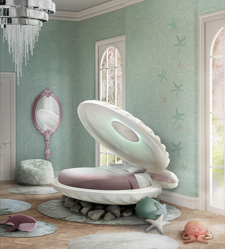 1-circu-Portugal-dream-fantastic-kids-furniture-design-sea-shell-shaped-bed-Little-Mermaid