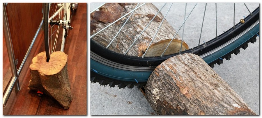 1-creative-bike-bicycle-storage-idea-handmade-wooden-log-stand
