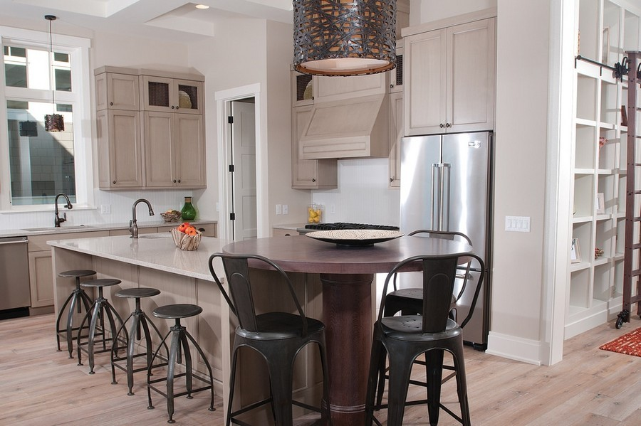 1-open-concept-kitchen-island-gray-set-bar-stools-pendant-lamp-traditional-style-two-sinks