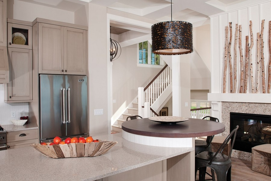 10-open-concept-kitchen-island-gray-set-bar-stools-birch-tree-branches-mantelpiece-decor-fireplace-pendant-lamp-traditional-style