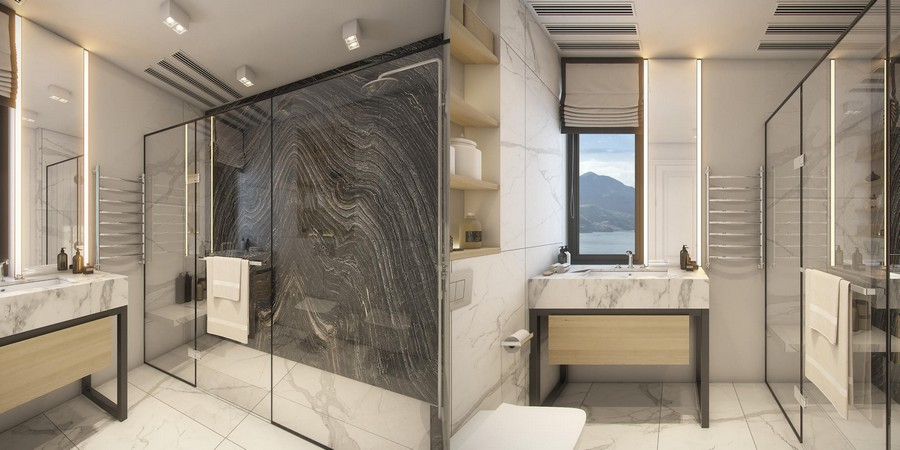 10-white-light-and-dark-black-bathroom-interior-design-in-contemporary-style-marble-slabs-walls-countertop-glass-shower-cabin-LED-lights-narrow-window-roman-blinds-recessed-shelves
