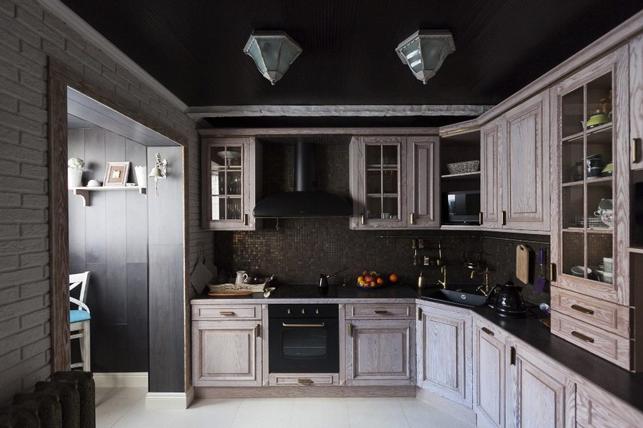 2-3-eclectic-provence-style-interior-design-white-kitchen-set-black-ceiling-wallpaper-faux-brick-wall