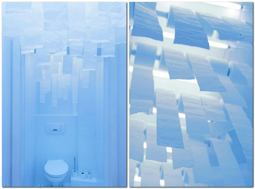 2-creative-unusual-interesting-WC-restroom-toilet-interior-design-idea-paper-rolls-on-ceiling-pale-blue-lighting-soothing-relaxing-atmosphere