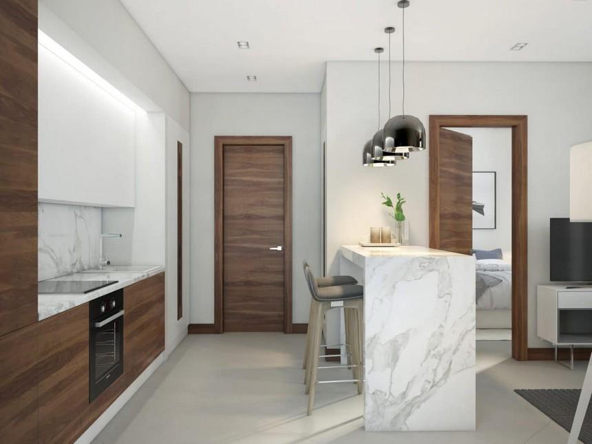 2-minimalist-Scandinavian-style-interior-design-white-walls-gray-blue-open-concept-kitchen-white-glossy-upper-cabinets-brown-natural-walnut-veneer-base-cabinets-marble-countertop-worktop-backsplash