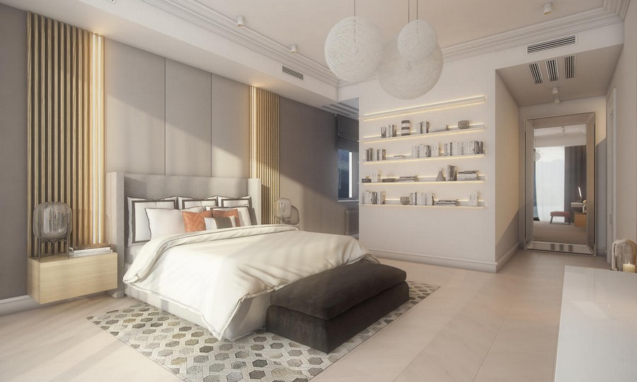 2-neutral-beige-and-gray-colors-bedroom-interior-design-in-contemporary-style-light-wood-panels-planks-wall-decor-suspended-bedside-tables-nightstands-built-in-LED-lamps-book-shelves