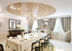 2-stretch-ceiling-in-interior-design-traditional-style-dining-living-room-beige-gray-brown-chairs-stripy-wallpaper-victorian-baseboard-big-table