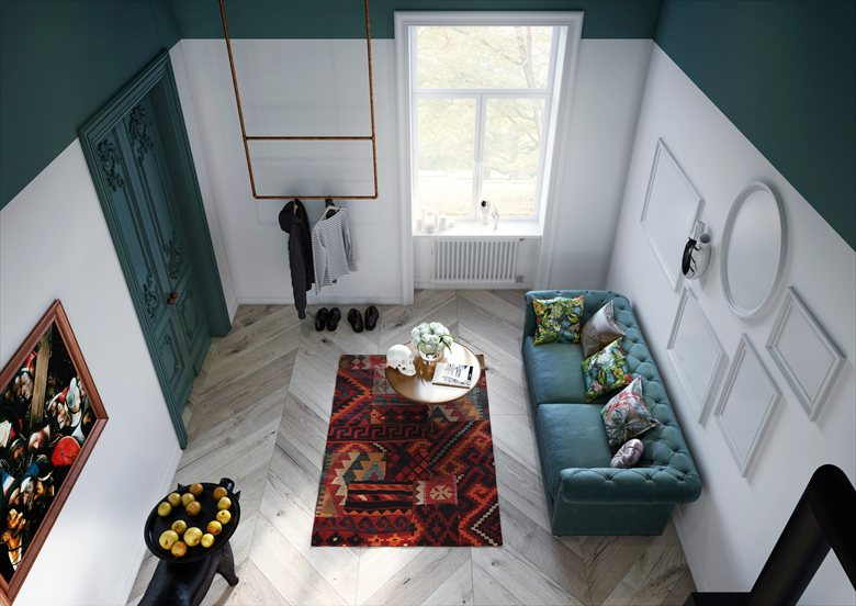 2-studio-apartment-with-mezzanine-floor-dark-green-kale-ceiling-white-walls-eclectic-style-Hieronymus-Bosch-Paintings-ethnical-rug-velvet-sofa-coffee-tables-piglet-tall-entrance-door