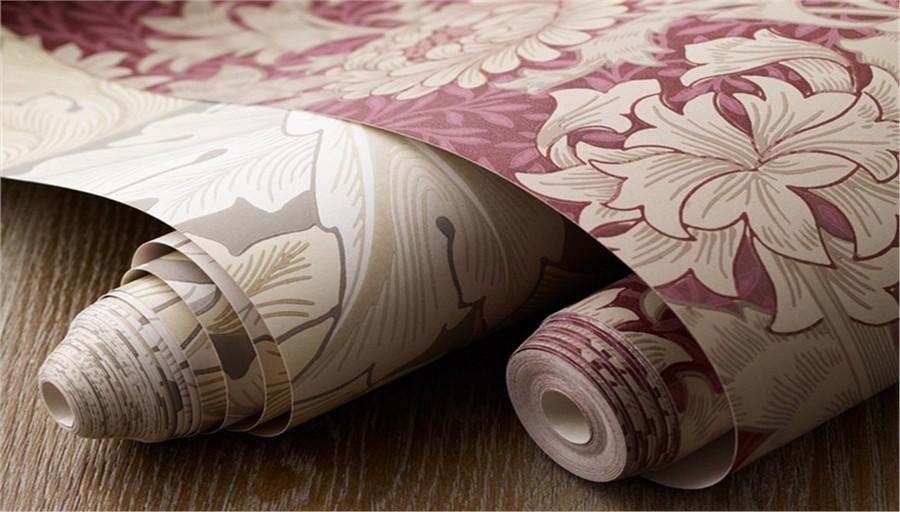 3-4-Morris-&-co-pink-and-white-floral-pattern-English-British-style-wallpaper-design