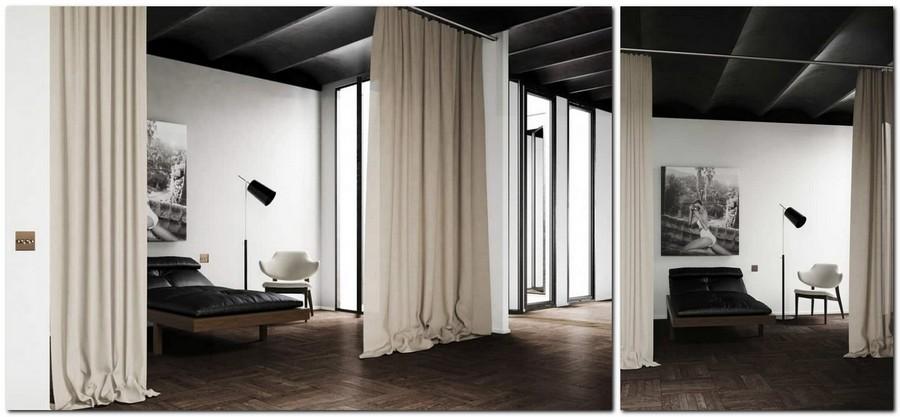 3-ascetic-minimalist-loft-style-bedroom-interior-design-white-walls-black-ceiling-beige-curtains-without-door-doorless-black-and-white-photo-dark-floor
