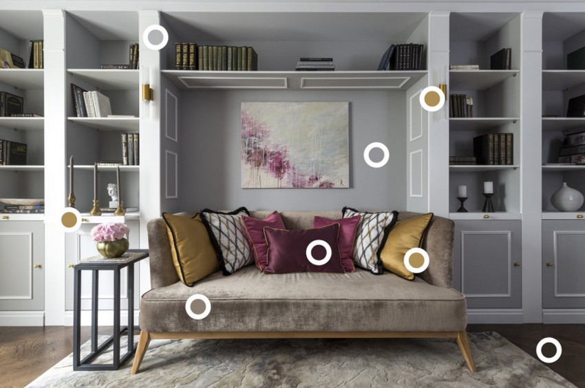 3-gray-pink-beige-French-style-living-room-home-library-interior-design-with-art-deco-elements-shelving-unit-sofa-painting-decorative-pillows