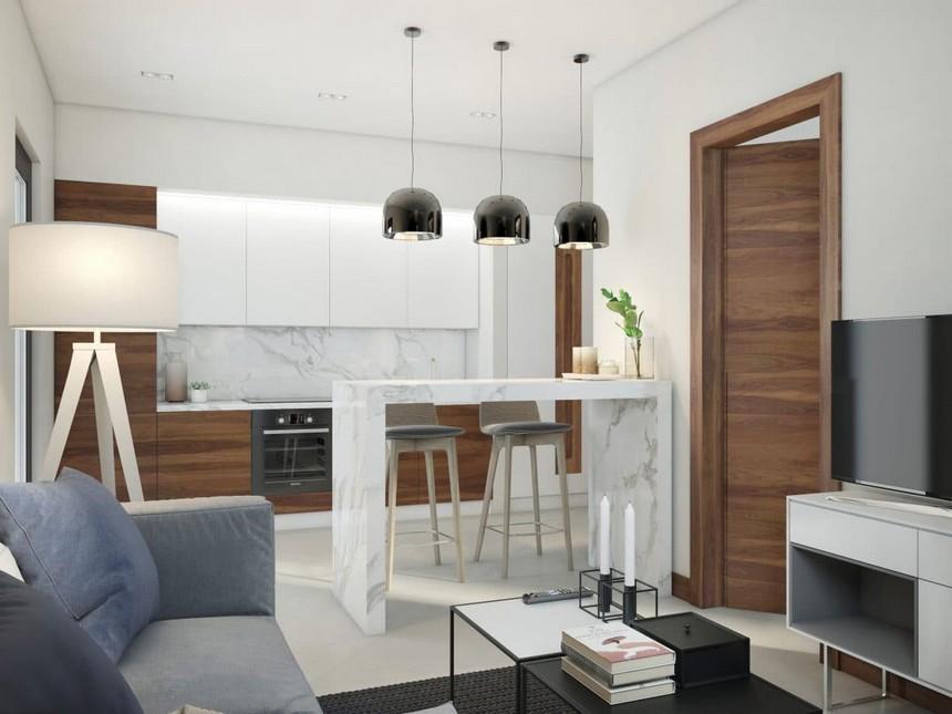 3-minimalist-Scandinavian-style-interior-design-white-walls-gray-blue-open-concept-kitchen-living-room-white-glossy-upper-cabinets-brown-natural-walnut-veneer-base-cabinets-marble-countertop-worktop-backsplash