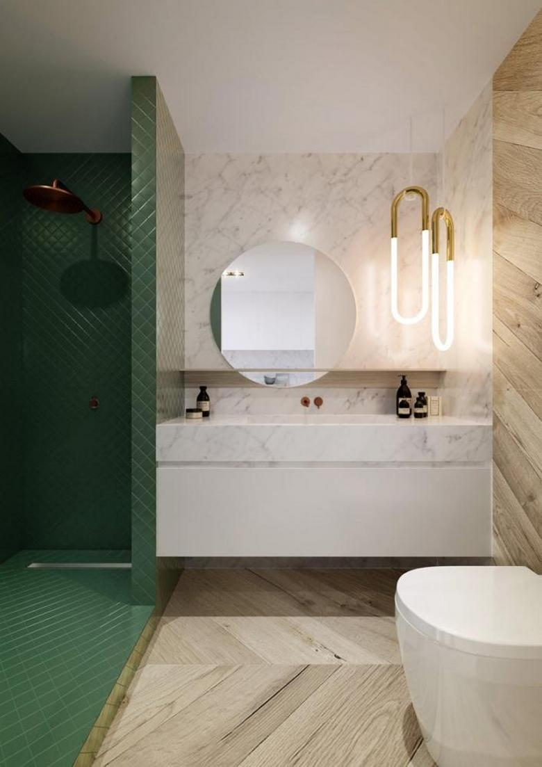 3-minimalist-eclectic-bathroom-interior-design-white-tiles-beige-wooden-panels-walls-parquet-floor-green-shower-cabin-round-mirror-suspended-wash-basin-cabinet-wall-mounted