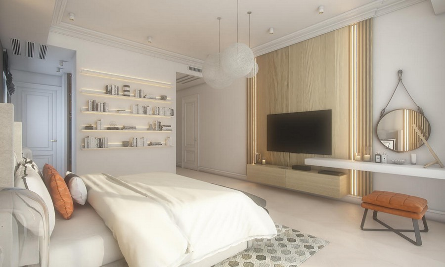 3-neutral-beige-and-gray-colors-bedroom-interior-design-in-contemporary-style-light-wood-panels-planks-wall-decor-built-in-LED-lamps-book-shelves-round-pendant-lamps-rope-mirror