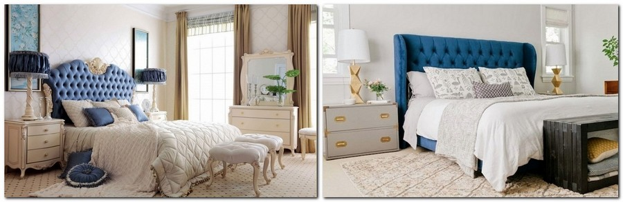 3-top-colors-2017-Pantone-lapis-blue-in-interior-design-capitone-upholstered-headboard-bed-bedroom-bedside-lamp-beige-walls