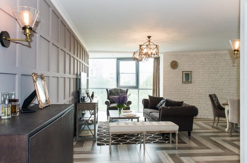 3-white-gray-brown-French-style-open-concept-living-dining-room-interior-design-faux-brick-plaster-3D-chocolate-MDF-wall-panoramic-window-chandeliers-TV-set-sofa