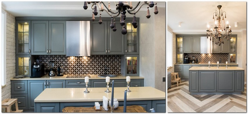 3-white-gray-brown-French-style-open-concept-living-dining-room-kitchen-interior-design-faux-brick-plaster-wall-herringbone-parquet-pattern-natural-wood-set-crystal-chandelier-steel-cooker-hood-minimalist