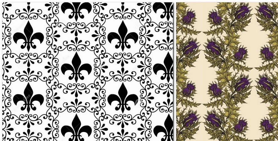 4-1-black-and-white-lilies-royal-heraldic-thistle-emblem-pattern-English-British-style-wallpaper-design