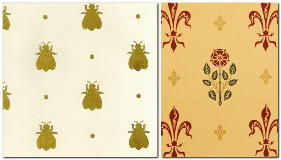4-2-rose-bee-pattern-English-British-style-wallpaper-design-royal-power-attributes