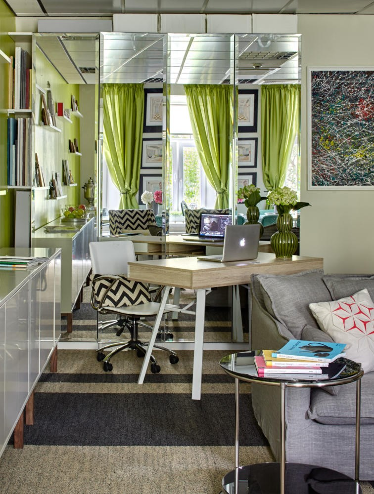 4-bright-cheerful-white-gray-and-green-office-interior-design-in-contemporary-style-mirrored-wall-work-area-desk-shelves-coffee-table-stripy-carpeting