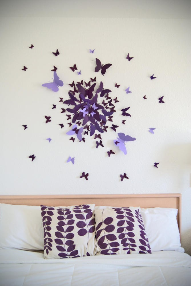 4-butterfly-wall-art-decor-ideas-purple-handmade-bedroom