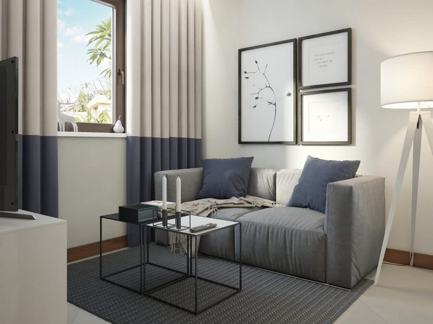 4-minimalist-Scandinavian-style-interior-design-white-walls-gray-blue-open-concept-living-room-floor-lamp-sofa-two-coffee-tables-bicolor-curtains