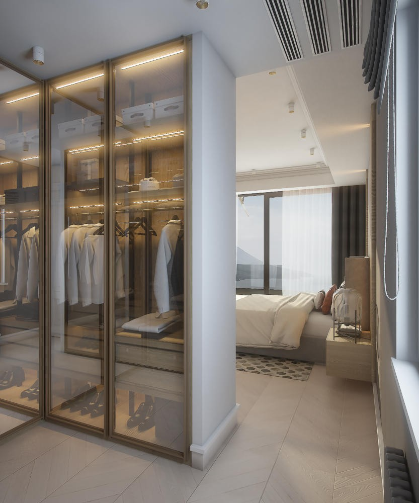 4-neutral-beige-and-gray-colors-interior-design-in-contemporary-style-walk-in-closet-bedroom-glass-doors-LED-lamps