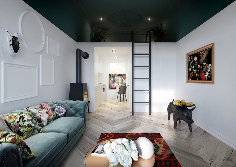 4-studio-apartment-with-mezzanine-floor-bedroom-dark-green-kale-ceiling-white-walls-eclectic-style-Hieronymus-Bosch-Paintings-Poland-black-stove-piglet-coffee-table-velvet-sofa-ethnical-rug-open-interior-design