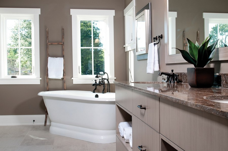 4-traditional-style-bathroom-interior-design-painted-gray-walls-retro-fixtures-bathtub-two-windows-vintage-ladder-stone-countertop-wash-basin-cabinet