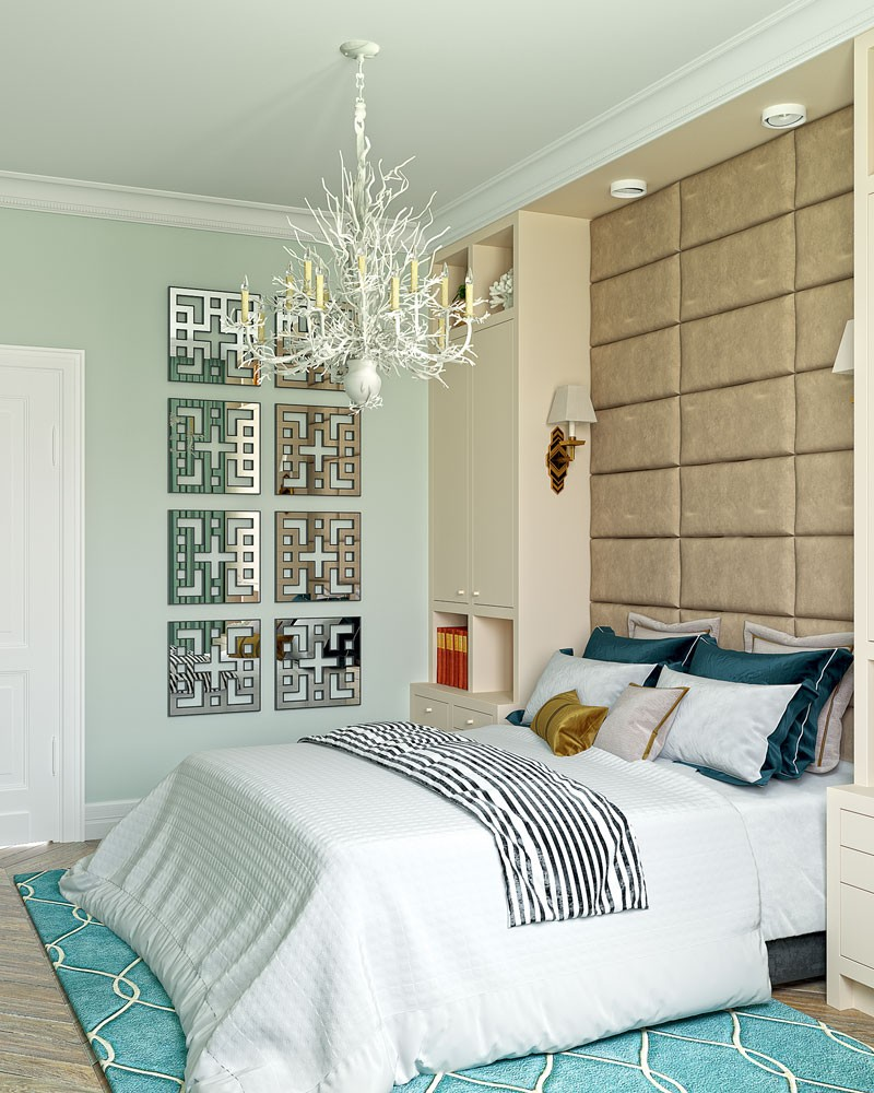 5-American-contemporary-style-bedroom-interior-design-with-art-deco-chandelier-blue-beige-white-wardrobes-tall-upholstered-headboard-mirror-wall-decor-carpet-parquet-herringbone