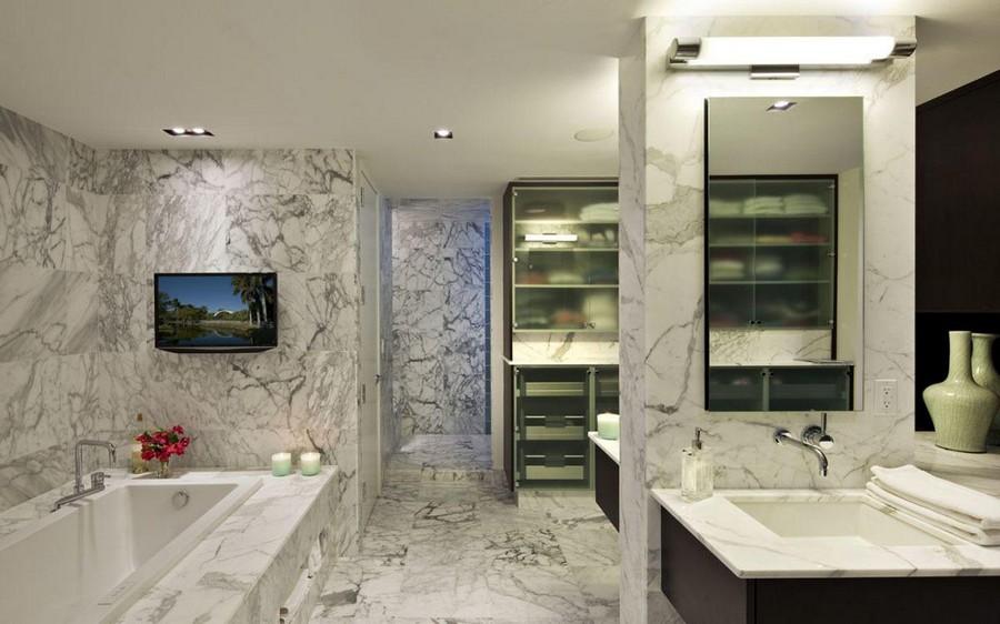 5-TV-set-in-bathroom-interior-design-gray-marble-tiles-bath-wash-basin