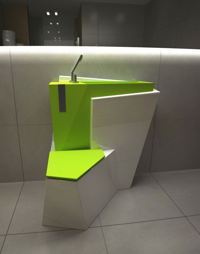 5-creative-unusual-interesting-WC-restroom-toilet-interior-design-idea-za-bor-Russia-hybrid-toilet-bowl-and-wash-basin-2-in-1-lime-acid-green-and-white-geometrical