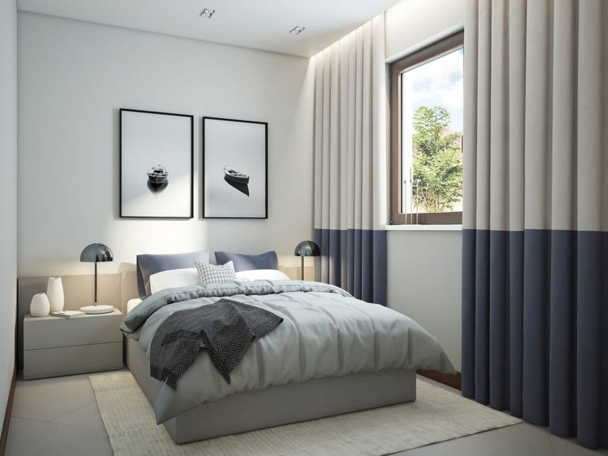 5-minimalist-Scandinavian-style-interior-design-white-walls-gray-blue-bedroom-bed-with-extended-headboard-bicolor-curtains-nightstands