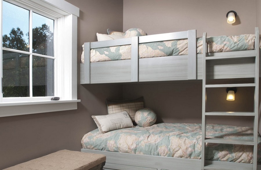 5-toddler-room-gray-painted-walls-traditional-style-no-curtains-bunk-bed-ladder-wall-lamps