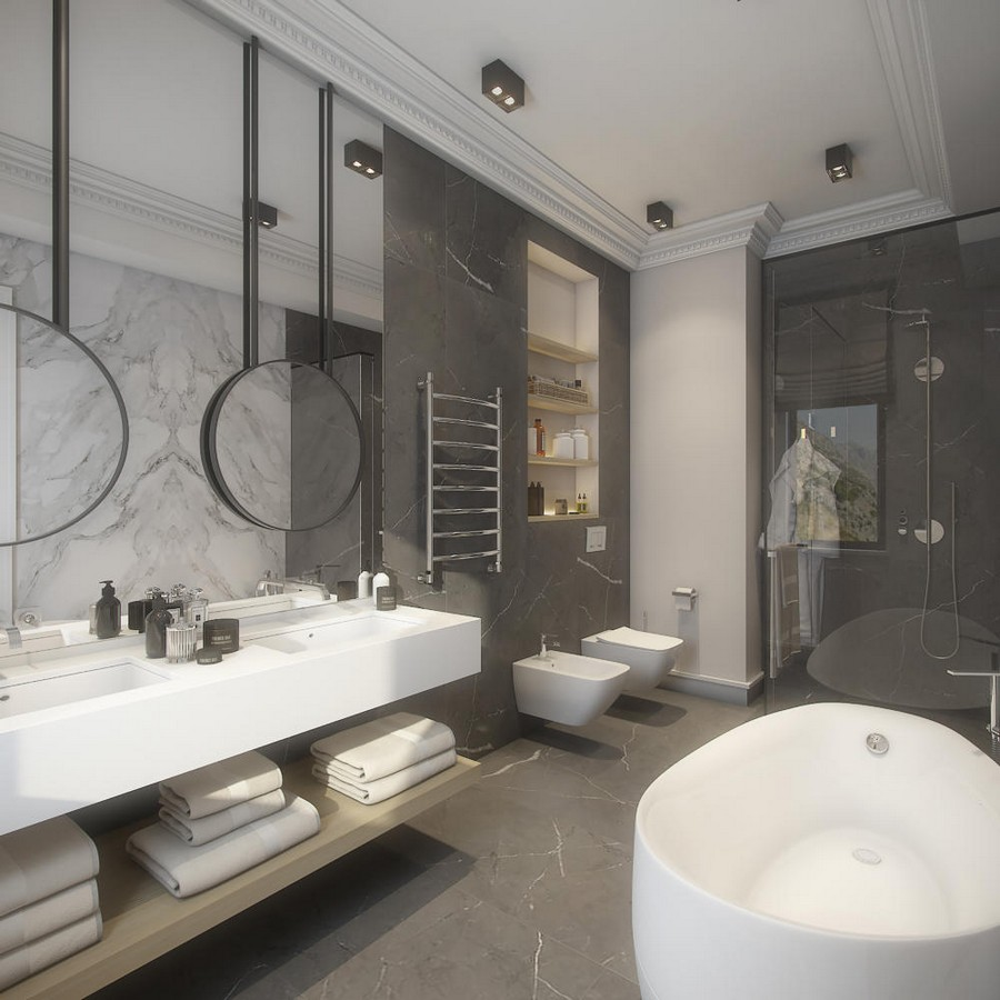 5-white-quartz-countertop-and-gray-marble-bathroom-interior-design-in-contemporary-style-round-mirrors-mirrored-wall-panel-oval-bathtub-shower-cabin-suspended-toilet-bidet