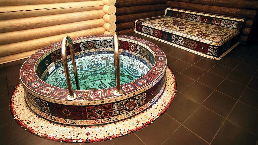 6-Turkish-style-bathhouse-sauna-faced-with-mosaic-tiles-bath-swimming-pool-stove-bench
