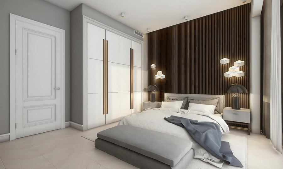 6-neutral-brown-and-gray-colors-bedroom-interior-design-in-contemporary-style-bed-bedspread-built-in-closet-wooden-planks-panels-wall-decor-bedside-lamps-LED-lights-ottoman
