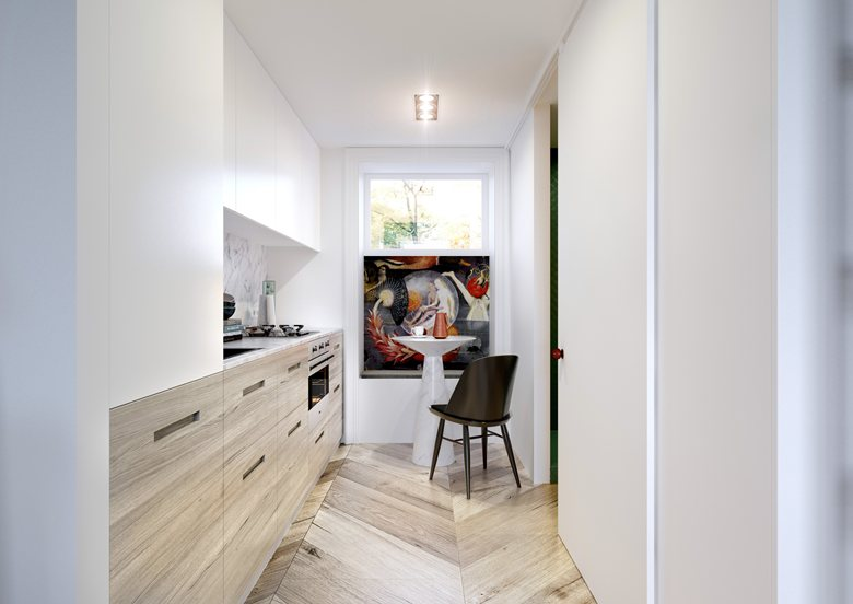 6-open-concept-minimalist-style-kitchen-interior-design-white-walls-upper-cabinets-wooden-base-set-parquet-floor-light-Hieronymus-Bosch-Painting-small-table-black-chair