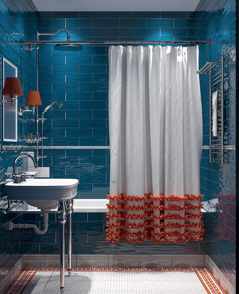 7-American-contemporary-style-bathroom-interior-design-mettlach-floor-tiles-meander-pattern-blue-brick-wall-tiles-ochre-orange-accents-lamps-shower-curtain-with-ruffles-retro-shower-head