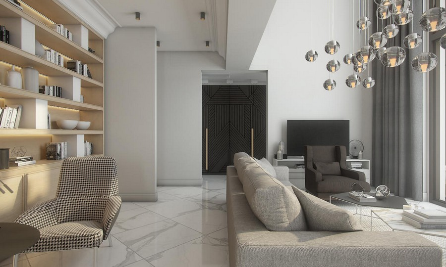7-neutral-beige-and-gray-colors-interior-design-in-contemporary-style-open-concept-living-room-sofa-arm-chairs-shelving-unit-many-pendant-lamps-curtains-white-marble-floor-tiles-coffee-tables-crow's-feet-pattern
