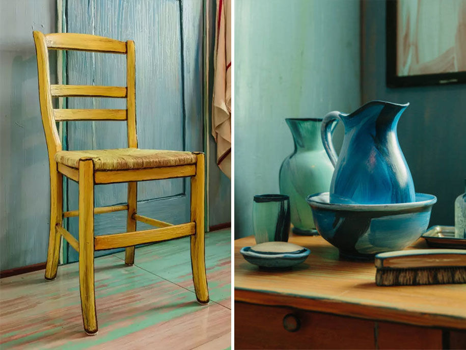7-vincent-van-gogh-painting-the-bedroom-in-arles-reconstructed-interior-design-copy-in-chicago-blue-walls-jug-yellow-chair