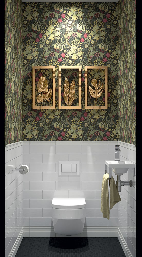 8-American-contemporary-style-suspended-wall-mounted-toilet-interior-design-white-brick-tiles-English-floral-wallpaper-art-decor-wall-art-wah-basin