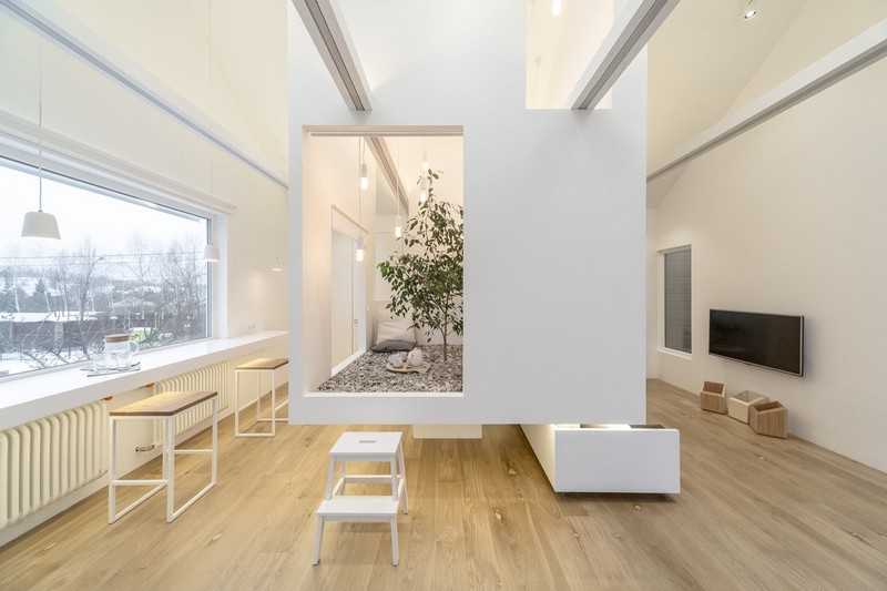 8-attic-floor-interior-design-in-contemporary-modern-style-open-space-modular-furniture-sofas-soaring-cube-sloped-ceiling-skylights-light-floor-white-walls-gray-furniture