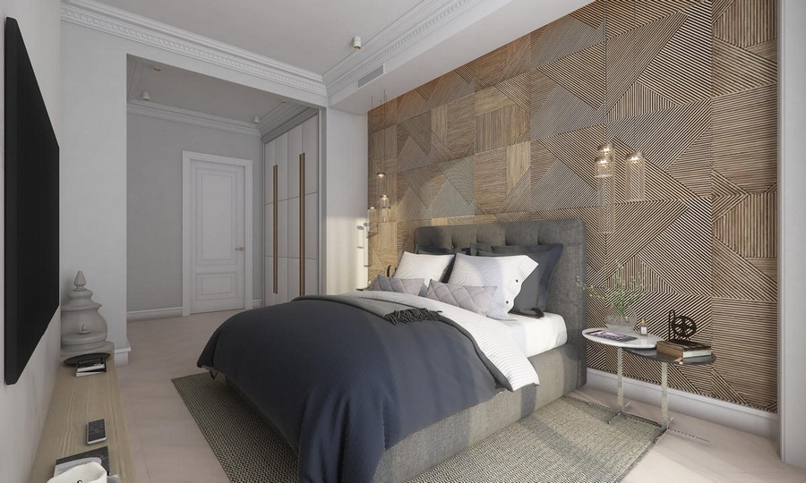9-neutral-beige-and-gray-colors-bedroom-interior-design-in-contemporary-style-wooden-wall-panels-decor-built-in-closet-TV-blue-bedspread-pendant-bedside-lamps