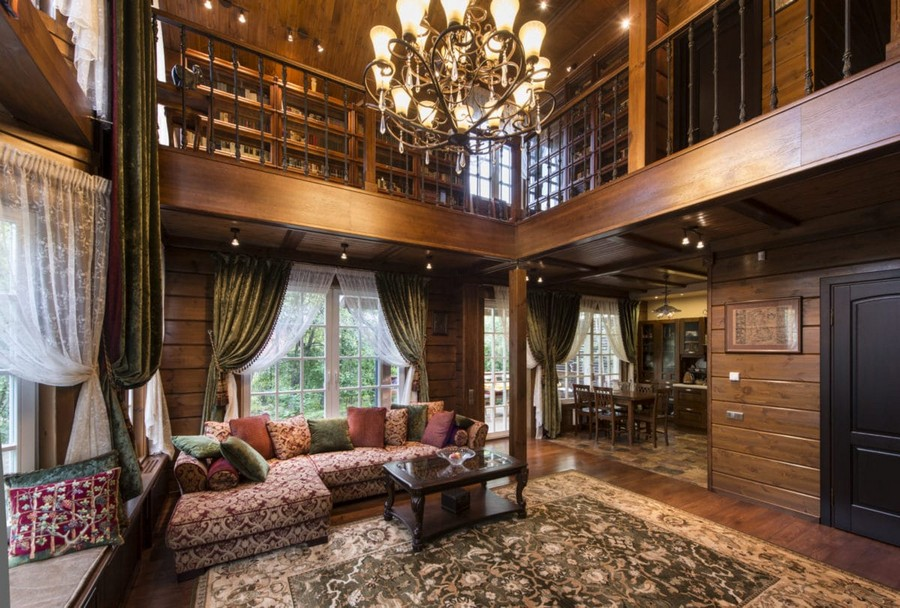 0-log-timber-wooden-house-interior-design-walls-big-panoramic-windows-overdrapery-drapery-sheer-curtains-gallery-open-to-below-second-floor-floral-sofa-green-pink-brown-living-room-lounge