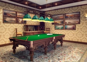 00-billiards-pool-room-interior-design-table-carpeting-ceiling-beams-windowless-beige-and-brown-classical-style-wallpaper-pictures-green-cloth-pendanr-lamps