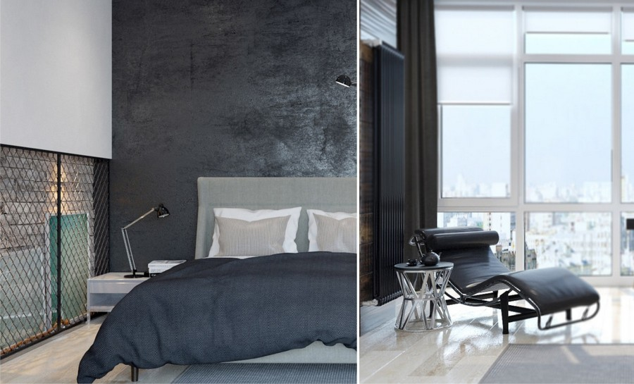 1-0-brutal-contemporary-style-bedroom-interior-design-light-floor-gray-concrete-walls-minimalism-panoramic-window-chaise-lounge-black-radiator-coffee-table-hinged-desk-lamp