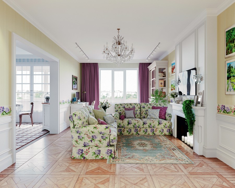 1-1-Provence-style-interior-lounge-living-room-design-white-walls-floral-pattern-two-sofas-faux-fireplace-flowers-chandelier-green-accents-pale-yellow-wallpaper-block-parquetry-purple-curtains-work-desk-paneling