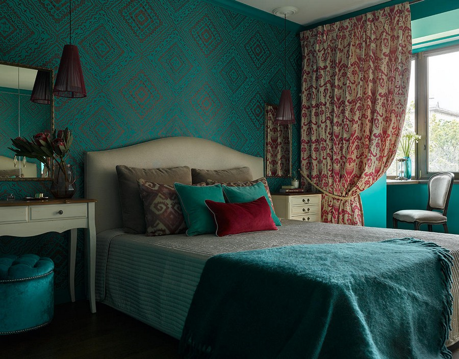 1-1-neo-classical-style-bedroom-interior-with-ethnic-motifs-Central-Asian-Uzbek-Portuguese-dark-colors-blue-red-purple-bright-turquoise-wallpaper-beige-bed-dressing-table-nightstand-open-balcony-drapery