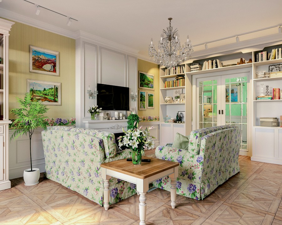 1-2-Provence-style-interior-lounge-living-room-design-white-walls-floral-motifs-pattern-two-sofas-faux-fireplace-bookshelves-around-doorway-glass-doors-flowers-chandelier-green-accents-pale-yellow-wallpaper-block